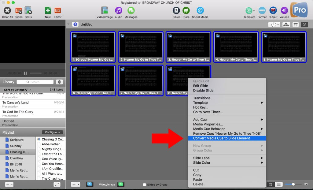 Looped Video Behind Notation in ProPresenter Software